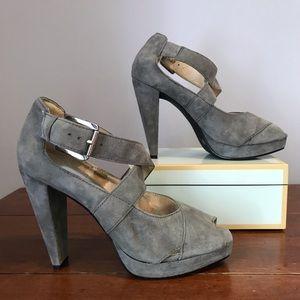 Micahel Kors Grey Suede Platform Heels Size 7.5